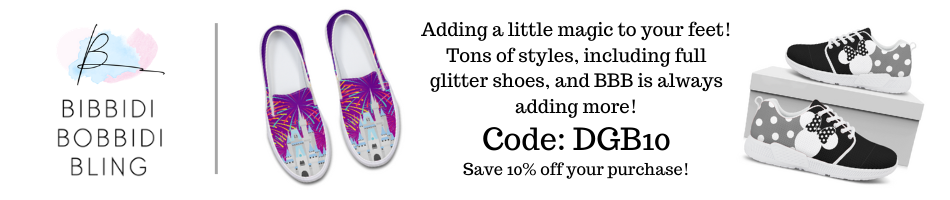 If you need new shoes for your next Park day, then look no further than Bibbiddi Bobbidi Bling for sparkly glitter athletic shoes or fully printed shoes!