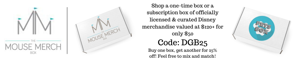 Buy one subscription box from The Mouse Merch Box and get another one for 25% off with the code DGB25. Feel free to mix and match with different subscription boxes!