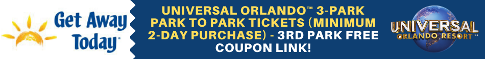 Save on your next stay at Universal Orlando by using this coupon link to get your third park free!
